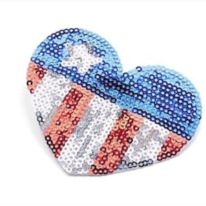 Stars and Stripes sequined heart hair clip